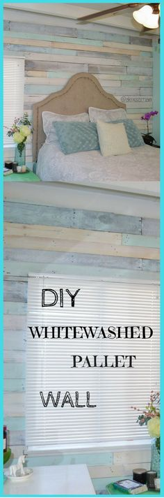 DIY Whitewashed Pallet Wall. Very Cool Look For Very Little Money! http://vid.staged.com/TDYs