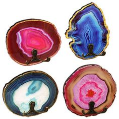 Give your room some style that rocks! These agate lacquered wall hooks can hold up to 12 pounds and are perfect for hanging on the wall wherever you want natural, organic, and colorful vibes. They come assorted among 4 styles and are also great for home goods stores, gift shops, and craft stores.