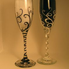 Crystals n Swirls Toasting Flutes / combo by svcalligraphy on Etsy, $50.00