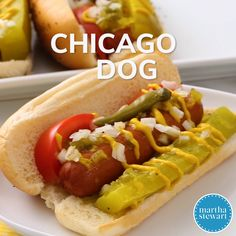 """Some traditions you just don't mess with, and a Chicago dog is one of them. All-beef frankfurters are """"dragged through the garden,"""" meaning they're piled with a bunch of veggie condiments. Try rocking these dogs at home for your next casual buffet. Chicago Dog Recipe, Chicago Hot Dog, Hot Dog Chili, Beef Hot Dogs, Dog Recipes, Sausage Recipes, Cooking Recipes, Como Hacer Hot Dog, Memorial Day Foods"""