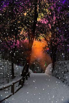 Snow against a colorful sky