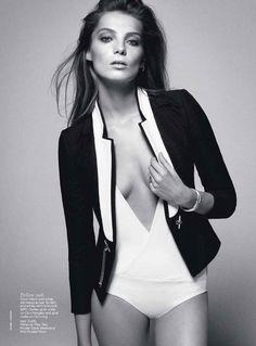 Gucci black and white tuxedo jacket (Daria Werbowy for Vogue Australia June 2012)