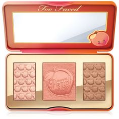 Too Faced Sweet Peach Glow Bronzing and Highlighting Palette (€36) ❤ liked on Polyvore featuring beauty products, makeup, beauty, cosmetics, blush, faces, filler, no color, palette makeup and too faced cosmetics