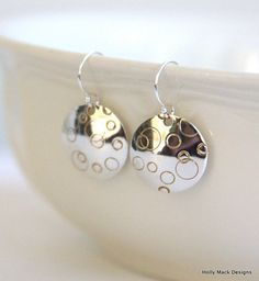 Sterling silver circle earrings polka dot by HollyMackDesigns, $32.00