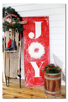 DIY porch holiday decor sign joy from MichaelsMakers Sugarbee Crafts