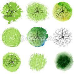 Рука нарисованные деревья — стоковая иллюстрация #60043227
