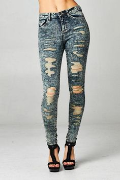 Vintage Wash Destroyed Skinny Jeans Stretch Ripped Cello Dirty Denim 13 14 Acid #CelloJeans #SlimSkinny Ripped Denim, Skinny Jeans, Trendy Jeans, High Rise Jeans, Cello, Stretch Jeans, Trendy Fashion, Online Price, Stockings