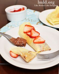 Crepes 1 cup flour 1/2 cup milk 1/2 cup water 3 eggs 2 TBS melted butter 1/2 tsp salt 2 TBS sugar