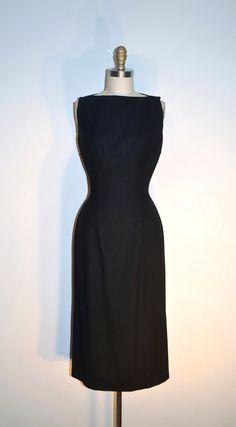1950s Wool Dress Black Wiggle Dress by LizsVintageSoffitta, $78.00