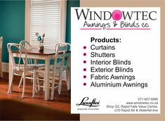 We have a unique range of interior and exterior blinds, awnings, shutters and curtaining available for you. We are open from 6 January 2020 for your window and door solutions Contact us for more information on 083 649 6863 or visit our website Fabric Awning, Fabric Blinds, Exterior Blinds, Interior And Exterior, Aluminum Awnings, Next Trends, Window Styles, Shutters, January