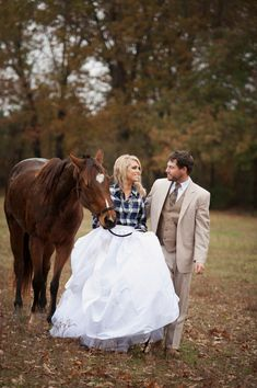 Country Wedding Couple With Horse