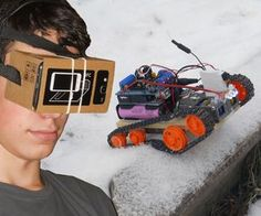 Have you ever tried to look at the world from a different point of view? With this project you can control a tracked robot with your brainwaves or with a joystick while you are watching its camera's live-stream in a virtual reality glass. This is an all terrain vehicle, that means that you can control it on snow, sand, any kind of ground, wet surface and of course indoors. It is powered by two 18650 lithium-ion batteries with a capacity of 2600 mAh. These are connected in series so the ma...