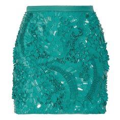 Antonio Berardi Pailette-embellished crepe mini skirt ($2,070) ❤ liked on Polyvore