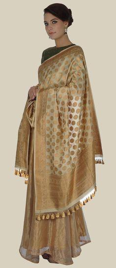 Gold Banarasi Dupatta with Pure Brocade Zari Silk Top and Skirt