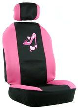 Pink Heart & High Heel Shoe 11 piece seat cover set to accessorize your car.