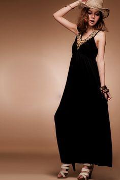 Bronze Button Embellished Sleeveless Cotton Maxi Dress