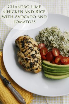 Cilantro Lime Chicken and Rice with Avocado and Tomatoes - Sarah's Cucina Bella : Sarah's Cucina Bella. Making this for my mama tonight! Real Food Recipes, Chicken Recipes, Cooking Recipes, Healthy Recipes, Diabetic Recipes, Yummy Food, Rice Recipes, Healthy Meals, Cooking Tips