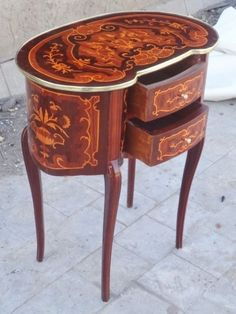 pair french louis xv nightstands rococo baroque signed end tables