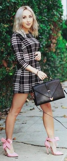 #feminine #style #summer #outfitideas | Little Check Dress + Pink Bowed Heels