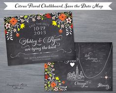 Hey, diesen tollen Etsy-Artikel fand ich bei http://www.etsy.com/listing/127428464/chalkboard-wedding-map-citrus-floral