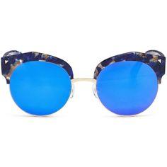 Stephane + Christian 'Flashback' acetate browline mirror sunglasses ($226) ❤ liked on Polyvore featuring accessories, eyewear, sunglasses, metallic, colorful mirrored sunglasses, sports sunglasses, acetate glasses, mirror sunglasses and studded sunglasses