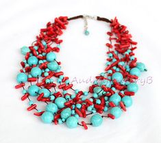 Multi Strand Turquoise coral beads necklace by AudreyjewelryB Coral Turquoise, Turquoise Pendant, Turquoise Gemstone, Turquoise Necklace, Coral Jewelry, Beaded Jewelry, Beaded Necklace, Flower Necklace, Statement Jewelry