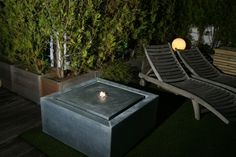Viveretto water feature in ZINC with LED light on a rooftop garden in Antwerp. Dimensions: Picture credits: a very happy client. Water Element, Rooftop Garden, Picture Credit, Antwerp, Water Features, Led, Lighting, Happy, Outdoor Decor