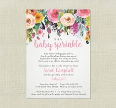 Baby sprinkle invitation girl version any color couples pink sister rose floral girl baby sprinkle shower invitation beautiful watercolor roses flowers floral pink yellow orange whimsical printable invite filmwisefo
