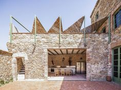 Anna & Eugeni Bach transform former chocolate factory in Spain into a warm, luminous oasis - La Bisbal d'Empordà, Girona, Spain Location Plan, Metal Beam, New Staircase, Staircase Architecture, Outdoor Spaces, Outdoor Decor, Outdoor Living, Ground Floor Plan, Chocolate Factory