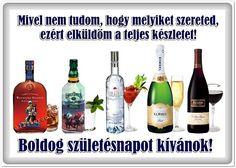 születésnap, képeslap, pasiknak, bor, pezsgő, italok