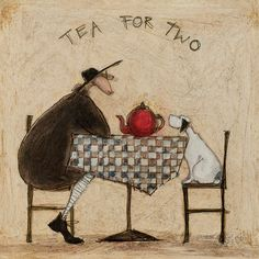 SAM TOFT - TEA FOR TWO STRETCHED BOX CANVAS ART PRINT 40cm x 40cm #Art