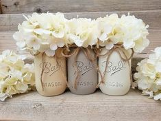 Painted Mason Jars-Rustic Mason Jar Decor-Vintage Home Decor-Grey-Tan-Cream-Rustic Home Decor-Country Chic Home Decor-Southern Country Home