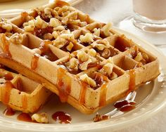 Nutty Pumpkin Waffles Recipe! It's the perfect fall/winter breakfast treat for the family!!!