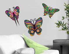 #Wandtattoo #Schmetterling No.BP23 #Mandala Schmetterlinge  #Ethno #Style #Muster #bunte #Farben #Lebensfreude #Wohnstil
