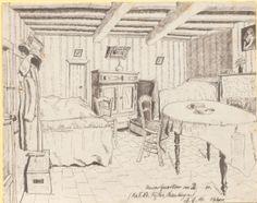 """""""Unser Quartier in B[...]re. (Kp.F.Lt. Fichler, Österling?)"""", Tuschezeichnung: Innenansicht eines komfortabel ausgestatteten Raumes. Darin befinden sich zwei Betten mit Überwurf, ein Tisch, welcher mit einer Tischdecke bedeckt ist, drei Stühle und eine Kommode. Die Wände zieren mehrere Bilder. Bestand 192-31, Nr. 28."""