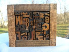 Antique Letterpress Wood Type Full Alphabet & #'s Graphic Design Mix Font Small