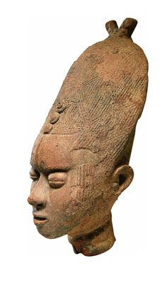Africa | Akan memorial head from Ghana | 17th - 19th century | Terracotta || Source; http://issuu.com/yahzoo/docs/african_art_-_maurice_delafosse