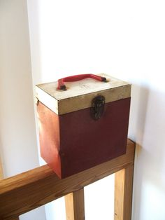 Mid Century Shabby Metal Record Box with plastic handle by lookonmytreasures on Etsy