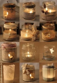 Rustic Christmas Mason Jar Ideas Here are different ways to decorate a simple mason jar candle holder. Use old music sheets, or book sheers, some twigs, ribbons and more. candles in mason jars easy Mason Jar Christmas Crafts, Christmas Candles, Mason Jar Crafts, Rustic Christmas, Christmas Diy, Coffee Jar Crafts, Christmas Candle Holders, Bottle Crafts, Christmas Ornaments