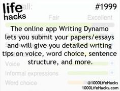 Ideas About DIY Life Hacks & Crafts 2017 / 2018 The online app Writting Dynamo lets you submit your papers/essays and will give you detailed writing tips on voice, word choice, sentence structure and more. -Read More – School Life Hacks, College Life Hacks, School Study Tips, School Tips, College Tips, School Essay, Teen Life Hacks, High School Hacks, College Planner