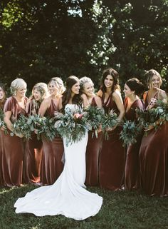 These stunning gowns by Jenny Yoo in this rustic shade called English Rose is the perfect autumn / fall bridal party . Velvet Bridesmaid Dresses, Wedding Bridesmaids, Autumn Bridesmaids, Bride And Bridesmaid Pictures, Burnt Orange Bridesmaid Dresses, Winter Bridesmaid Dresses, Velvet Dresses, Wedding Bells, Fall Wedding