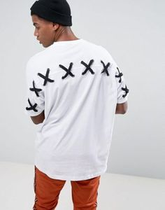 ASOS Super Oversized T-Shirt With Lace Up Back And Chunky Eyelets In White