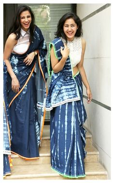 Denim saris by Anubha Jain Saree Styles, Blouse Styles, Indian Style, Saris, Ethnic Fashion, Indian Fashion, Women's Fashion, Modest Fashion, Indian Dresses