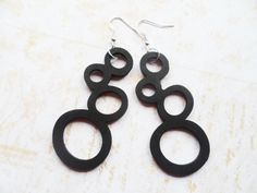 Large black wooden butterfly earrings with silver hooks, nature inspired jewelry, light to wear, Selma Dreams jewellery by SelmaDreams on Etsy