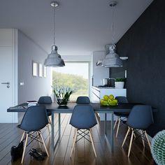 modernes wohnzimmer pendelleuchten industrielles design metall stühle