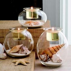 Clearly Creative™ Eclectic Votive Trio - Three shapely blown glass holders to fill with your own decorative touches! Top with a votive or tealight, sold separately, in the pressed glass votive cup. PartyLite.com