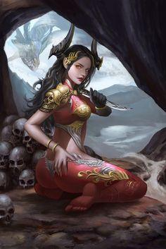 Fantasy Girl, Fantasy Female Warrior, Fantasy Art Women, Dark Fantasy Art, Fantasy Artwork, Female Art, Anime Warrior Girl, Arte Final Fantasy, Fantasy Kunst