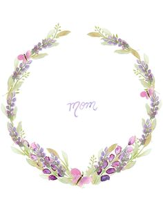 Free Mother's day watercolor card printables (blank wisteria watercolor wreath included) - Craftberry Bush - My Pin Wreath Watercolor, Watercolor Cards, Watercolor Flowers, Watercolor Paintings, Painting Flowers, Floral Frames, Images Vintage, Vintage Frames, Deco Floral