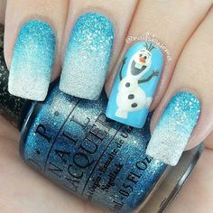 Festive Christmas Nail Art Ideas Blue Christmas Nails with Olaf Design.Blue Christmas Nails with Olaf Design. Nail Art Designs 2016, Christmas Nail Art Designs, Holiday Nail Art, Kid Nail Designs, Xmas Nail Art, Olaf Nails, Disney Nails, Snowman Nails, Nails For Kids