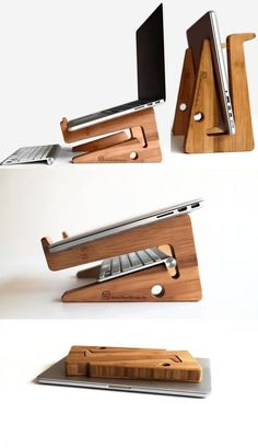 Bamboo Wooden Laptop Macbook Cooling Stand Holder Riser Dock Laptop Desk Desktop… Bamboo Wooden Laptop Macbook Cooling Stand Holder Riser Dock Laptop Desk Desktop Stand Holder Mount Cradle for Laptop Notebook Tablets iPad Macbook Air or Pro Diy Laptop Stand, Wooden Laptop Stand, Laptop Table, Laptop Desk, Ipad Desk Stand, Woodworking Plans, Woodworking Projects, Laptop Screen Repair, Woodworking Jigs